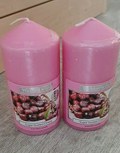 Wickford & Co Scented Candle - Pillar Shaped -Sugar Dusted Cherry x 2
