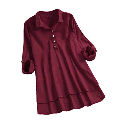 Andouy Damen Hemd Top Kariertes Langarm Leinen Plus Size Gr.38-46 Tunika Knopf Lose Bluse Übergroß(M(40).Wein