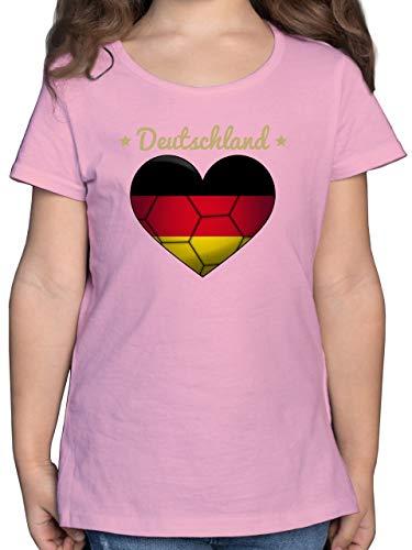 Sport Kind - Handballherz Deutschland - 128 (7/8 Jahre) - Rosa - Deutschland - F131K - Mädchen Kinder T-Shirt