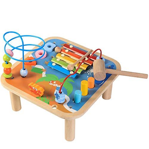 5 en 1 Table d'Activité en bois, thème 'océan', jouets éducatifs, jouets en bois pour enfants Tout-Petits, xylophone et jeu de marteaux avec éléments coulissants, jeu de tri et boucles colorées
