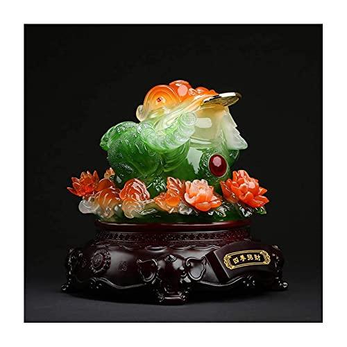 JY&WIN Feng Shui Money Frog Herramientas para decoración Gold Barren Deco, Rana de Riqueza trípode o Inversión con Estatua de Corbata de Tesoro, Riqueza y Buena Suerte, B, S