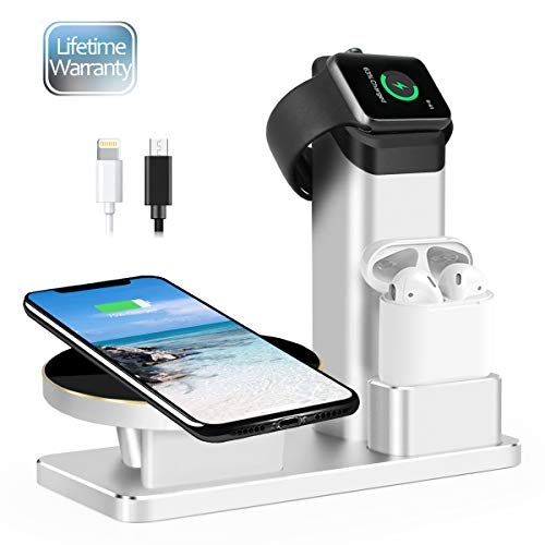 JingooBon Wireless Charging Station for iPhone 11 Pro Max/11 Pro/11/Xs Max/Xs/XR/X/8/8 Plus, 3 in 1 10W Fast Charger Stand for Apple Watch Series 5/4/3/2/1&AirPods, Charge Dock for iWatch & EarPods