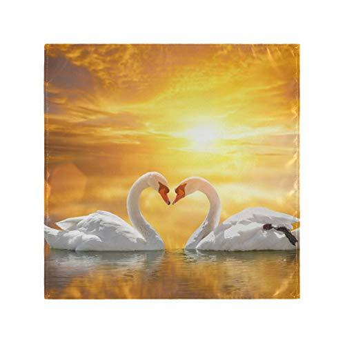 iRoad Servietten Schwan Sonnenuntergang Liebe Herz wiederverwendbar Tischservietten für Zuhause, Hotel, Esszimmer, Hochzeit, Küche, Set mit 1 Tischservietten 50,8 x 50,8 cm, mehrfarbig, Einheitsgröße