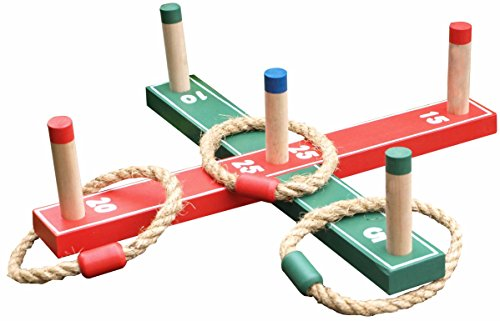 Wooden Garden Quoits Traditional Indoor & Outdoor Hoopla Ring Toss Game