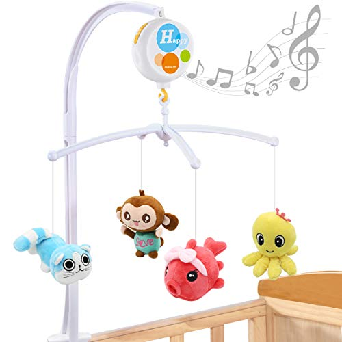 MARUMINE Baby Crib Mobile with 26 Lullabies, 25 Inch Holder Arm Bracket, Hanging Rotating Plush Toys, Electric Music Box, Infant Bouncer Decoration for Newborn Boys and Girls
