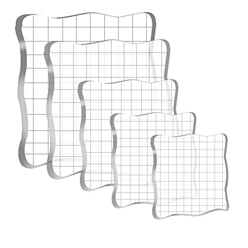 Clyhon - Set de 5 Bloques de Estampación de Acrílico Transparentes Bloques para Scrapbooking
