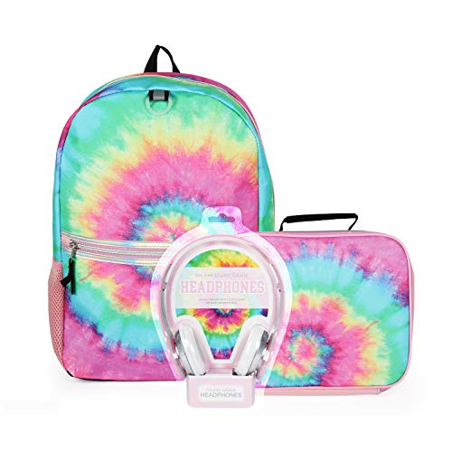 5 Pc. Tie Dye Backpack Set for Girls, 16 inch, w/Kids Headphones, Tie Dye Lunch Box, Water Bottle