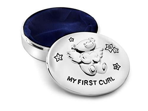 Brillibrum Design Haardose Bär versilbert anlaufgeschützt mit Namen Gravur Babygeschenk Silber Lockendose personalisiertes Taufgeschenk Lockendöschen inkl Wunschgravur