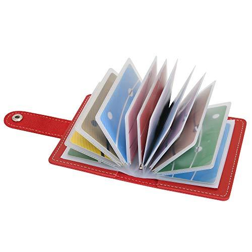 Tarjetero para Tarjetas de credito para Mujer Hombre Piel con Alrededor con el Bolsillo de la Moneda Cuero Tarjeteros Pequeños de Visita (Rojo)