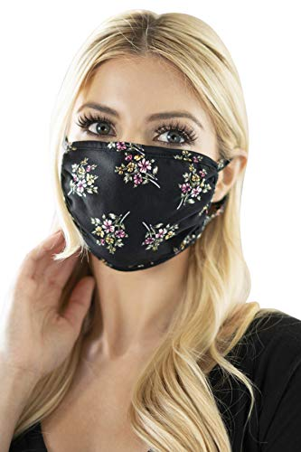 Reusable Fabric Face Mask Unisex Washable Covering - Cute Print Cloth Comfy Breathable Adjustable Outdoor Mouth Shield Protection Men Women (Round/Ear Loop - Floral Bouquet Black)