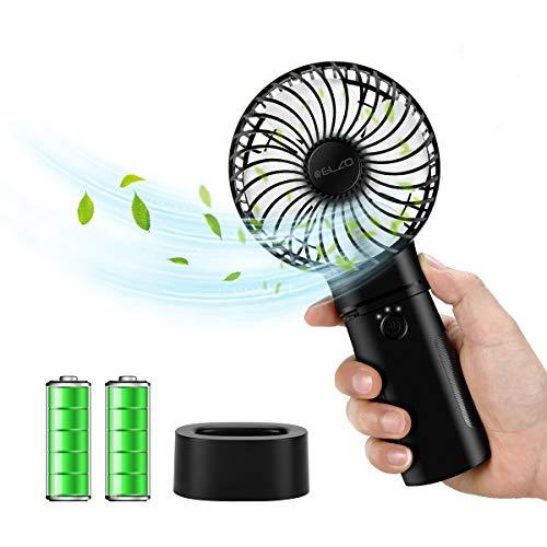 ELZO Mini Ventilador de Mano, Silencioso Mini Ventilador Portátil con Ventilador Recargable USB de 5200mAh Incorporado para Viajar al Aire Libre de la Oficina del Sitio al Aire Libre, Negro