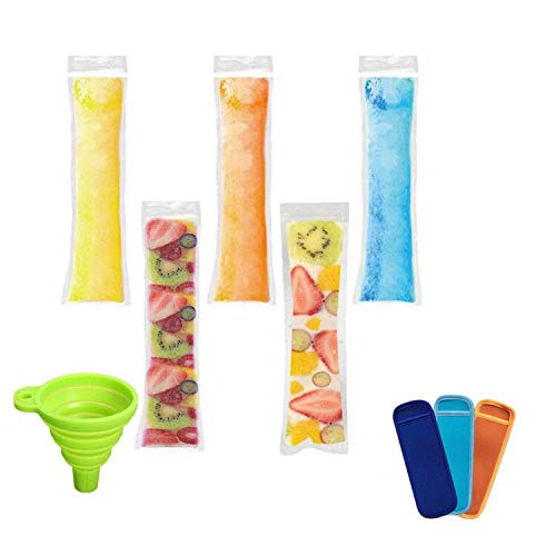 AUTOPkio Eis Popsicle Form Taschen, 100 Stück Ice Pop Taschen mit 1 Stück Trichter und 3 Stück Ice Pop Sleeves für Joghurt, Eis Süßigkeiten oder Freeze Pops, 22 x 6.2cm BPA Free Gefrierschrank Zip-Top