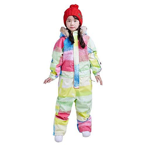 Bluemagic Big Kid's One Piece Snowsuits Ski Suits Waterproof Overalls Jackets Snowboarding,Rainbow,130cm