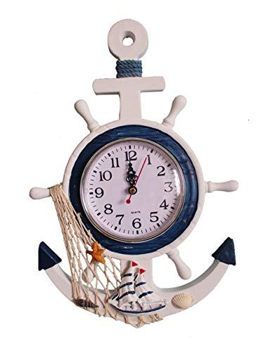 YOAI Maritime Holz Wanduhr Steuerrad Quarzuhr Anker Urlaub Meer Boot Schiff Shabby Wanddeko für Wohnzimmer Schlafzimmer Kinderzimmer (Type-1)