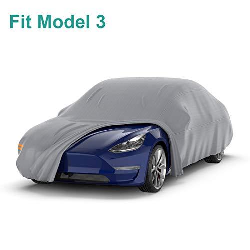 BougeRV pour Tesla Modèle 3 Bâche Housse de Voiture Waterproof Coupe-Vent Tout Temps en Plein air Protection UV Couvertures de Voiture avec Sangles à Boucle Ajustable et Bandes Réfléchissantes