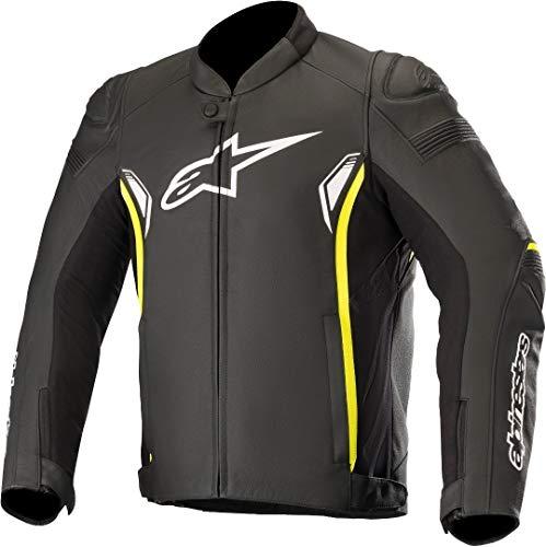 Alpinestars - Giacca da moto Sp-1 V2 Leather Jacket Black Yellow Fluo, Nero/Fluo, 58
