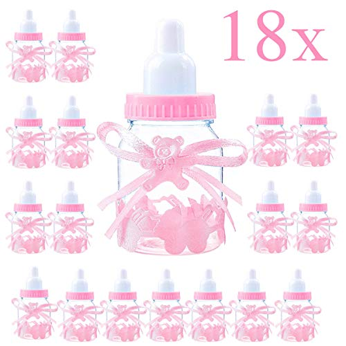 Jonami Madchen Süßigkeiten Box Flasche Rosa, Babyparty Deko Mädchen, Baby Shower, Baby Party Pink Dekoration Box Gastegeschenke Taufe Geschenkpaket (4cm*4cm*9cm)