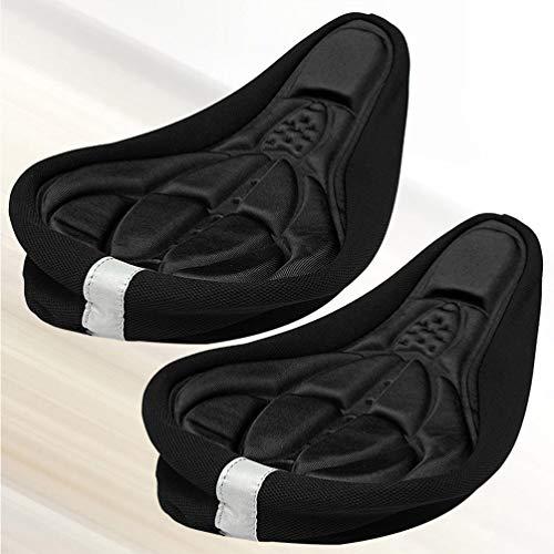 IMIKEYA 2 pcs Bike Seat Cushion Cover 3D Comfort Gel Padded Bicycle Saddle Cover Cushion Men Women Bicycle Cushion Seat (Black)