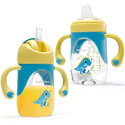 hahaland 2 in 1 Bicchiere Antigoccia Bambini Tazza con Cannuccia e Beccuccio 240ml, Tazza di Apprendimento Tritan e Silicone Morbido Biberon per Bambino 6 9 12 Mesi - Dinosauro