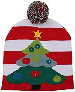 SODIAL Colorful Glowing Knitting Designs LED Christmas Hats Beanie Sweater Christmas Santa Hat Light Up Knitted Hat for Kid Adult for Christmas Party Tree