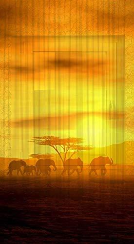 Clever-Kauf-24 Schal Vorhang Gardine Afrika Elefanten BxH 135 x 245 cm | mit verdeckten Schlaufen | transparent | Lichtdurchlässiger Vorhang mit Druckmotiv |