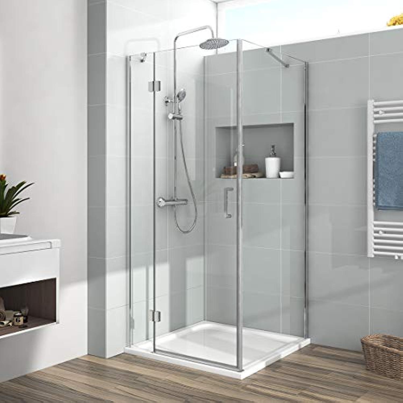 Duschkabine 100x90 cm Scharniertür Duschabtrennung 6 mm Echtglas Duschwand Duschtür mit Seitenwand 190cm Hhe