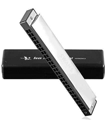 Swan® Techno Geek Sw24-4 Tremolo Harmonica Performance Harmonica Mouth Organ 24 Holes 48 Tones C Key With Black Box