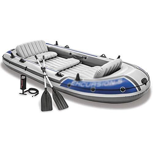 Qinmo Gonfiabile Gommone 366 x 168 x 43 cm Barca a Remi for 5 Persone con 2 Alluminio Remi e Pompa a Pedale in Alluminio Pavimentazione