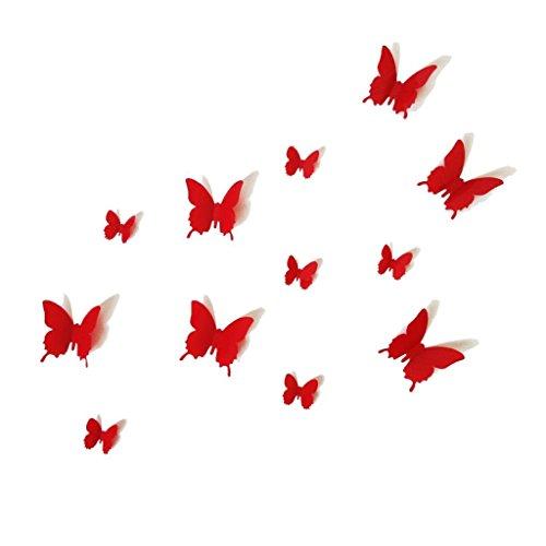 UK DEALS 12PCS 3D Red Butterfly Wall Stickers Art Decal PVC Butterflies Home DIY Decor