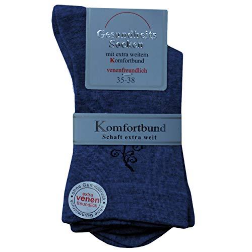 Premium Socks 3 Paar Extra Weite Damen Diabetikersocken Gesundheitssocken Socken ohne Gummibund und ohne Naht mit Komfortbund Softrand in Blautöne 39-42