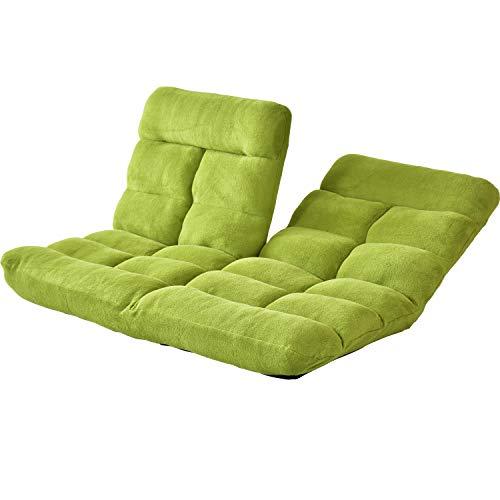 DORIS 座椅子 2人掛け ローソファ フロアソファ 左右独立リクライニング 奥行調整可能な2箇所の14段階ギア搭載 ふっくらサンゴマイヤー生地 グリーン ピオンセ