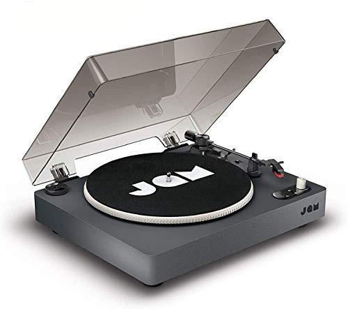 Jam Spun Out Tocadiscos con Bluetooth – Reproductor de Discos de Vinilo con Transmisión a Correa, 3 Velocidades 33 1/3, 45, 78 RPM, Salida para Auriculares, Entrada Auxiliar, Cubierta Antipolvo