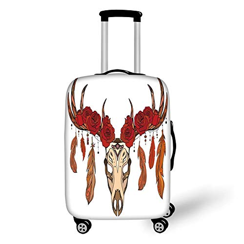 Travel Luggage Cover Suitcase Protector,Antler Decor,Antlers with Blooming Red Roses and Artistic Feathers Deer Skull Ethnic Decorative,Ruby Orange Tan,for Travel M