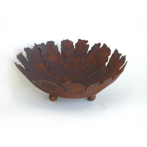 Rost Schale rund mit Rissen 45 cm Deko Dekoration Edelrost Garten Säule Metall