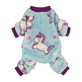 Fitwarm Unicorn Pet Clothes for Dog Pajamas Coat Cat PJS Jumpsuit Soft Velvet Purple