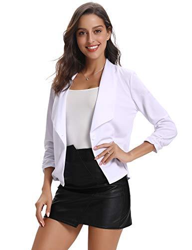 Abollria Damesblazer licht casual getailleerd jersey korte blazer jas 3/4 mouwen bloemen print pak jas met knop