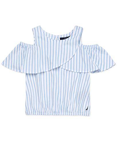 Nautica Toddler Girls Shoulder Top, Cold Stripe Cream, 2T