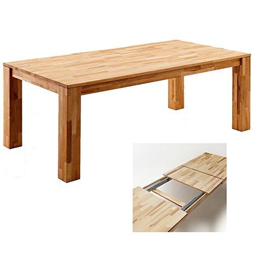 Robas Lund Esstisch Tisch ausziehbar Massivholz XXL Kernbuche geölt, BxHxT 200-300 x 77 x 100 cm