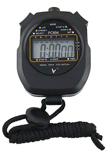 CaLeQi Cronómetro digital profesional de mano LCD, con contador de vueltas, 2 memorias