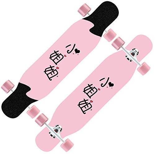 YT Patinetas de Cuatro Ruedas Cruiser Longboard Double Kick Scooter Maple con Cubierta de Arce de 8 Capas, Brush Street Long Skateboards para Niños/Niños/Niñas/Jóvenes/Adultos,B10