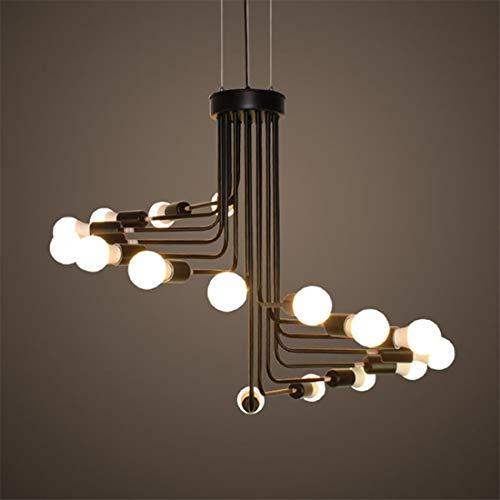 Lámpara colgante Lámpara de techo Retro de la lámpara, Escalera de caracol de hierro forjado de techo de iluminación grande, for el café de la barra dormitorio, sala de estar, Pasillo, Negro