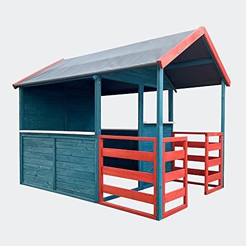 Wiltec Casetta per Bambini XL 146x195x156cm con Zona Giorno e Veranda Casa Giocattolo da Giardino Rosso/Blu