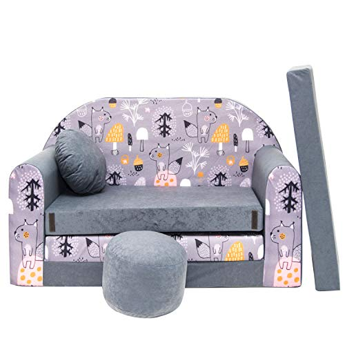 millybo Kindersofa Mini Couch Spielsofa Kindercouch 3in1 Doppelsofa Minisofa (AX4)