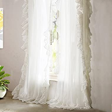 DriftAway 2 Panels-Sophie Sheer Voile Window Curtains, Ruffle Edge, Rod Pocket, Each (52 x84 ,Off White)