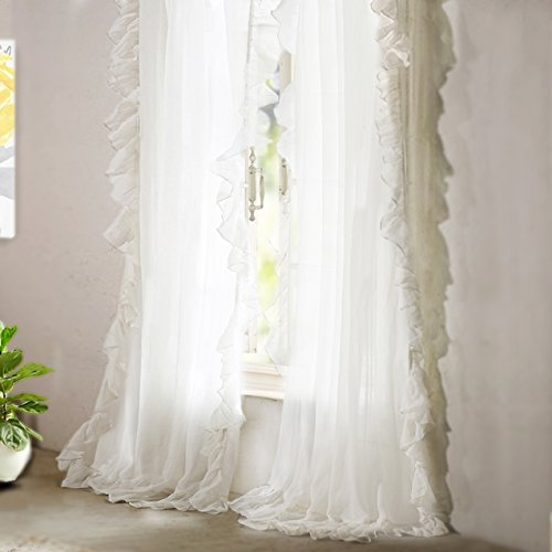 DriftAway Sophie Solid Sheer White Voile Window Curtains Ruffle Edge Rod Pocket 2 Panels Each Size 52 Inch by 84 Inch Off White