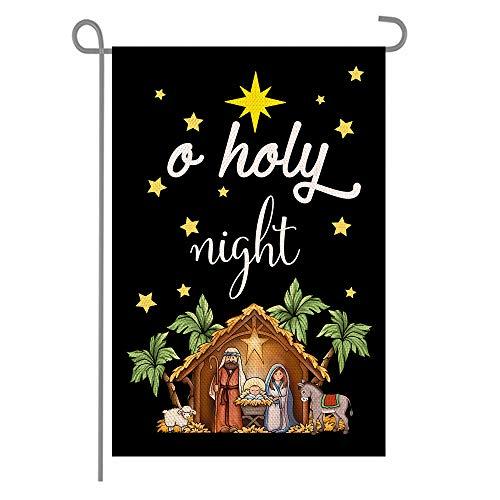 ANOVO Christ Nativity O Holy Night Double Sided Burlap Garden Flags, Seasonal Holiday Christmas Outside Porch Patio Farmhouse Yard Outdoor Decoration 12 x 18 Inch