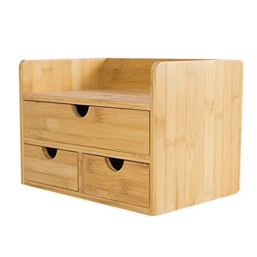 Inicio Estantería Estantería Estantería Organizador de escritorio de oficina de oficina de bambú estante de almacenamiento de escritorio con estantería de 3 cajones Organizador de almacenamien