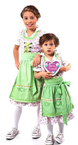 Alpentracht Alpentracht 3 TLG. Kinderdirndl (Kleid, Bluse, Schürze) / Traumhaftes Trachtenkleid in Blumenmuster für Mädchen Gr. 104-152 in Rot/Grau oder Grün/Rosa 100% Baumwolle (6, Grün - Rosa)