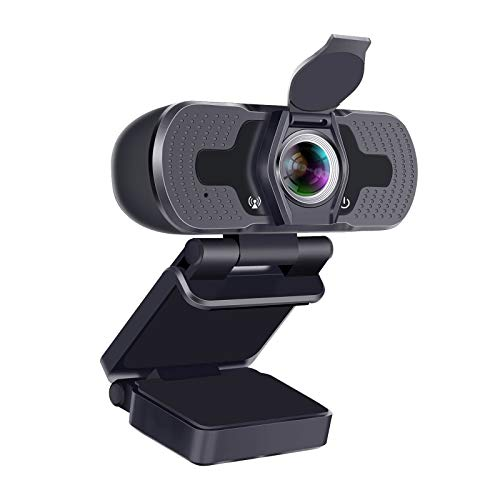 Webcam,1080P Webcam with Microphone HD 110-Degree View Angle,Noise Cancelling Webcam with Privacy Cover,USB PC Webcam Plug & Play Camera for Video Conference/Gaming/Online Work/Home Office/Zoom