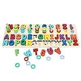 YOUTHINK Alfabeto Puzzle Toy, Niños Alfabeto de Madera Número de Juguetes a Juego Preescolar Aprendizaje Educativo Puzzle Toy para Niños